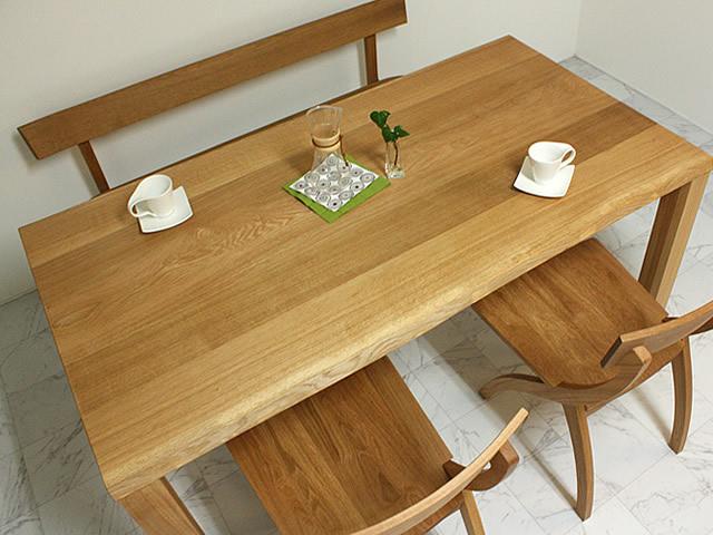 楢材天然耳付きダイニングテーブル