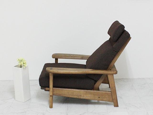 リクライニング機能付きタモ材一人掛けソファ
